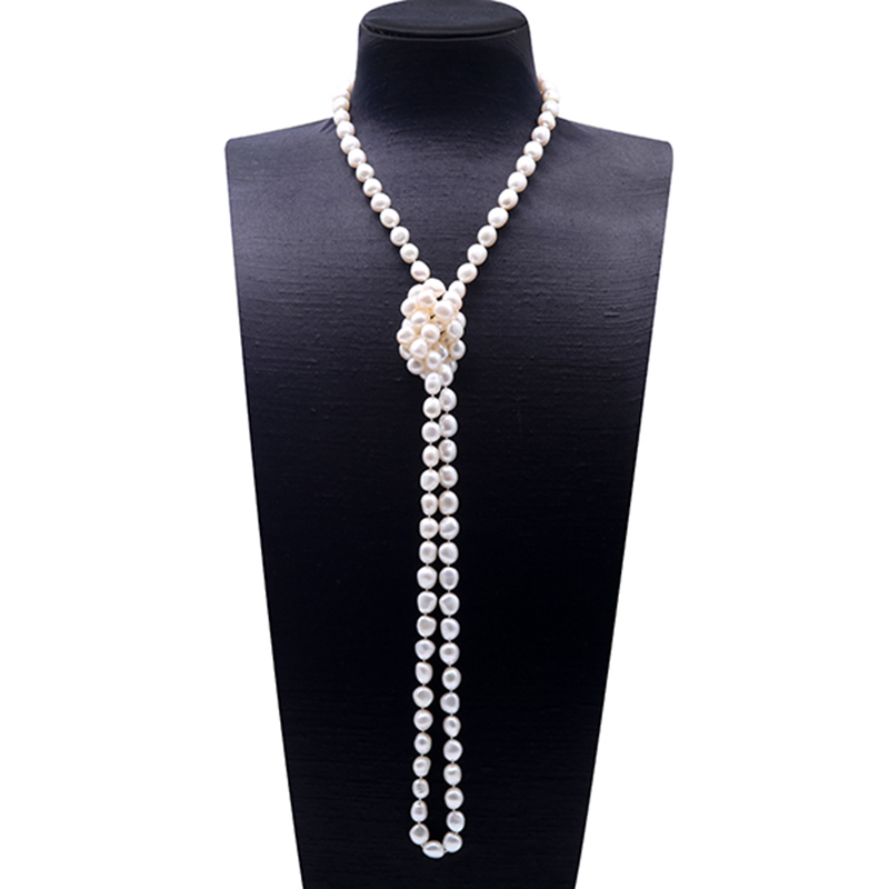 купить JYX Pearl Necklace Long 9-10mm Natural White Baroque Freshwater Pearl Necklace Single Strand Necklace 16-51 Inches недорого