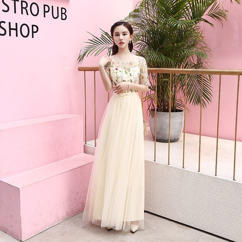 U-SWEAR 2019 nouveauté femmes broderie florale robes de demoiselle d'honneur col bateau manches courtes Illusion robes de demoiselle d'honneur en mousseline de soie