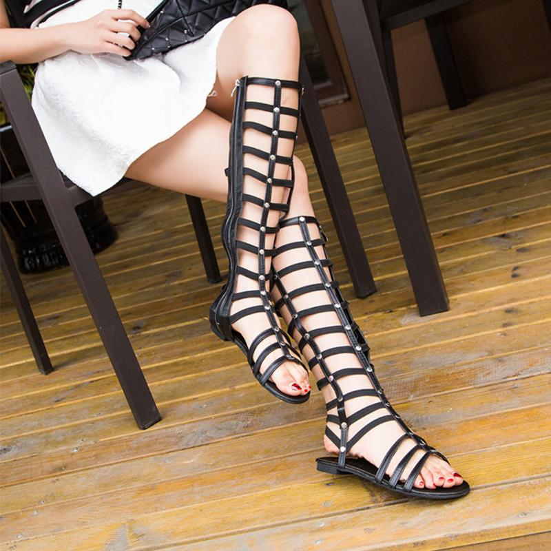 Ladies Women Shoes Fashion Gladiator Sandals Strappy Flat Knee High Long Zip Up Boots Rivet Hollowed-out Sandals Shoes