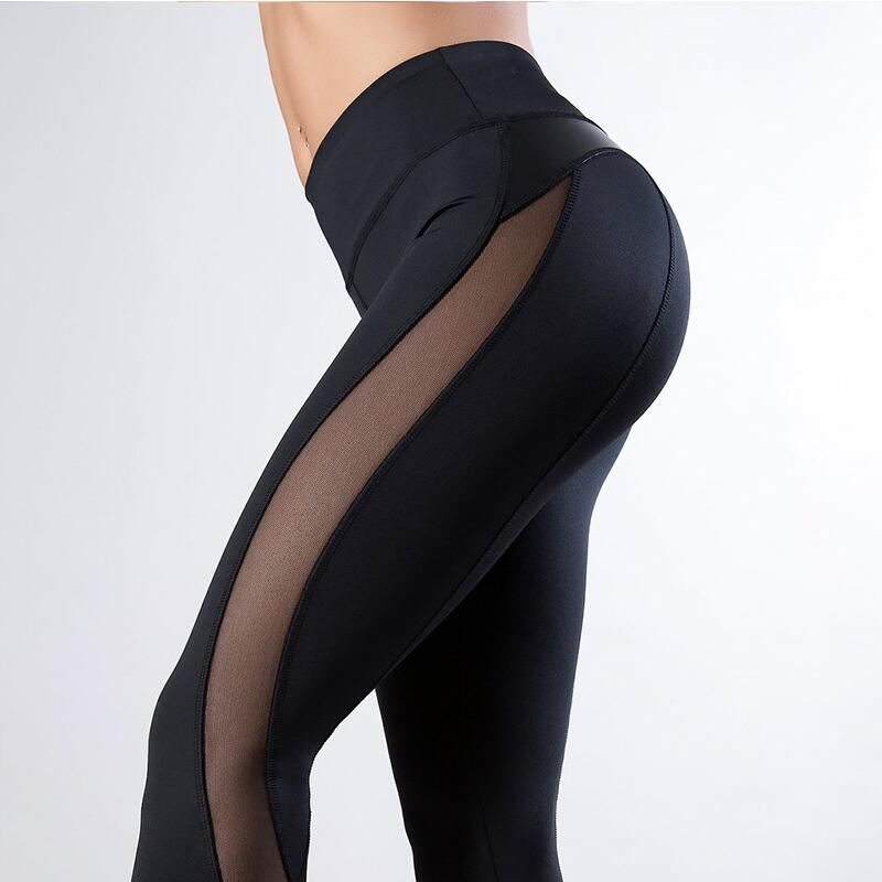 Black Fitness active Legging Women Heart hip Workout Leggings Mesh And PU Leather Patchwork Leggings Solid Pants