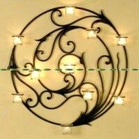 Классический металлический Свадебные Мебель для дома Декор круглые настенные карман крепление подсвечник без свечи + Стекло бутылка черны