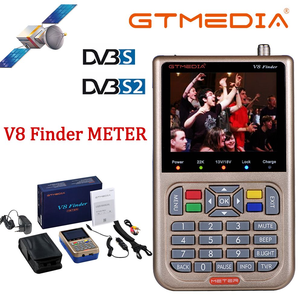 V8 Finder Meter SatFinder Digital Satellite Finder DVB S/S2/S2X HD 1080P Receptor TV Signal Receiver Sat Decoder Location Finder