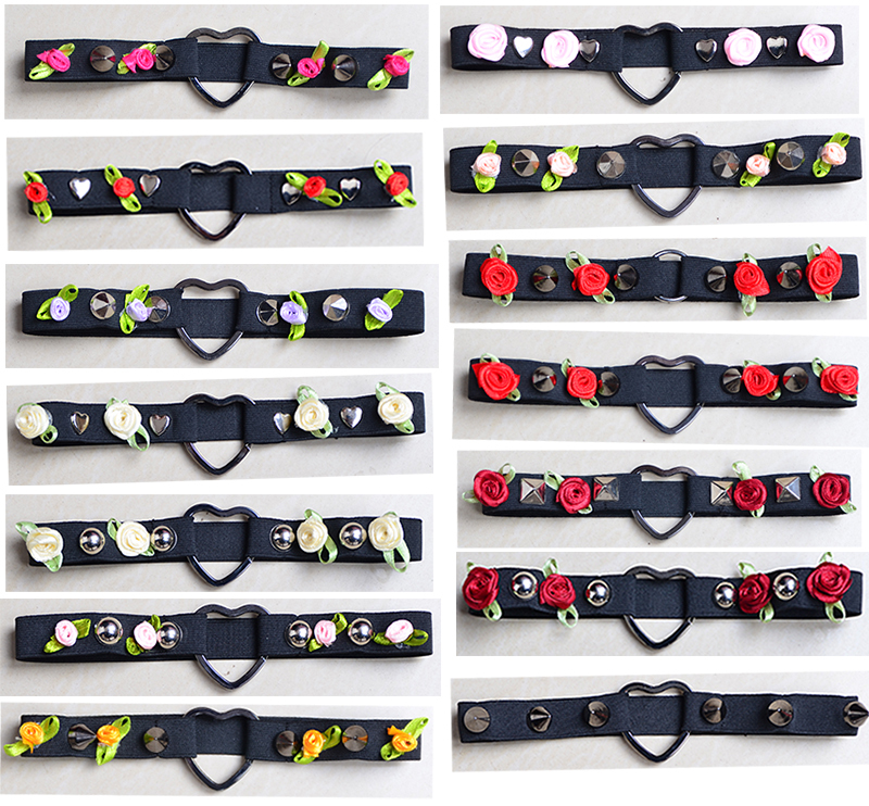 Body Harnes Black Tensile Elastic Material Garters Choker Heart Gothic Handmade Pendants With Charm Gothic Women Leg Garters