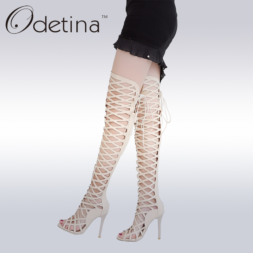 Odetina Fashion Cut Out Womens Stiletto Heels Thigh High Summer Boots Over The Knee Sexy Lace Up Gladiator Sandals Hollow Out denim zipper hollow worn stiletto womens sandals