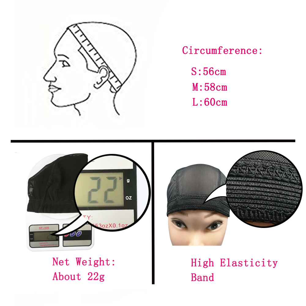 S/M/L Black Mesh Net Dome Cap For Wig Making With Weave Full Wig Cap 10pcs
