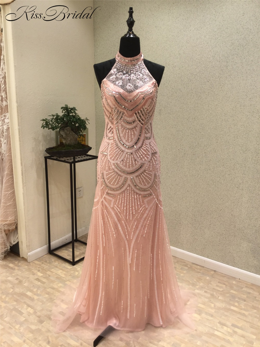 Vestidos de festa New Style Mermaid   Prom     Dresses   2018 High Neck Sleeveless Floor Length Beading Tulle Evening   Dresses