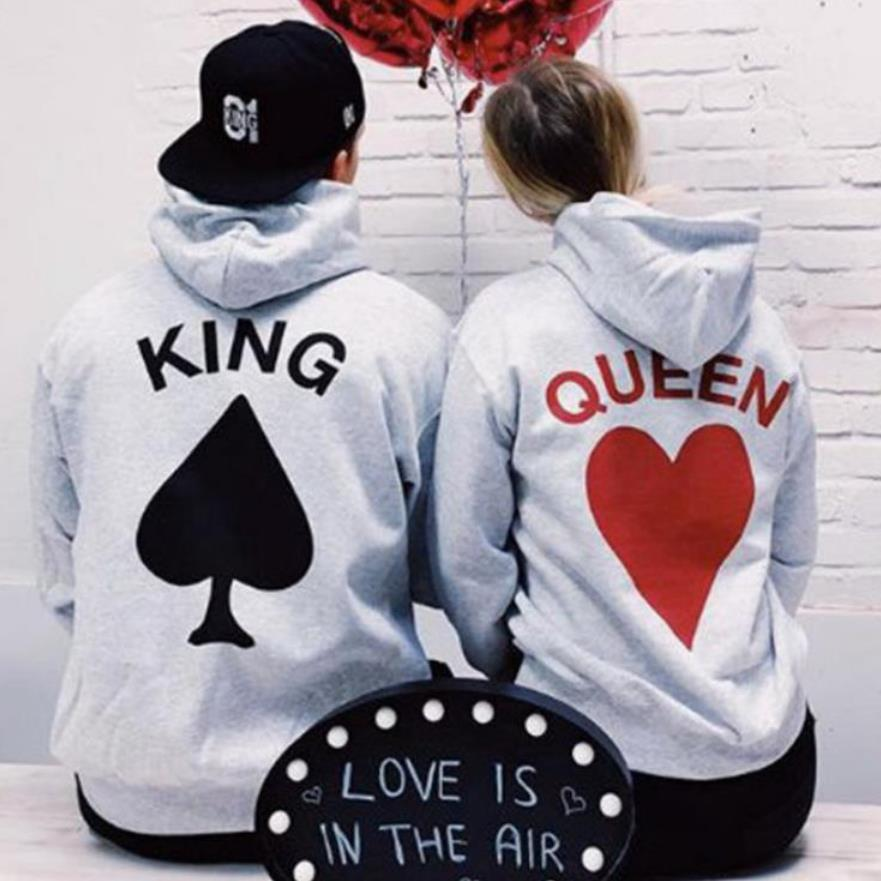 US $15.29 5% OFF|BKLD 2019 New Fashion Couples Matching Hoodies Women Men King Queen Letter Printing Casual Long Sleeve Lovers Hooded Sweatshirts in