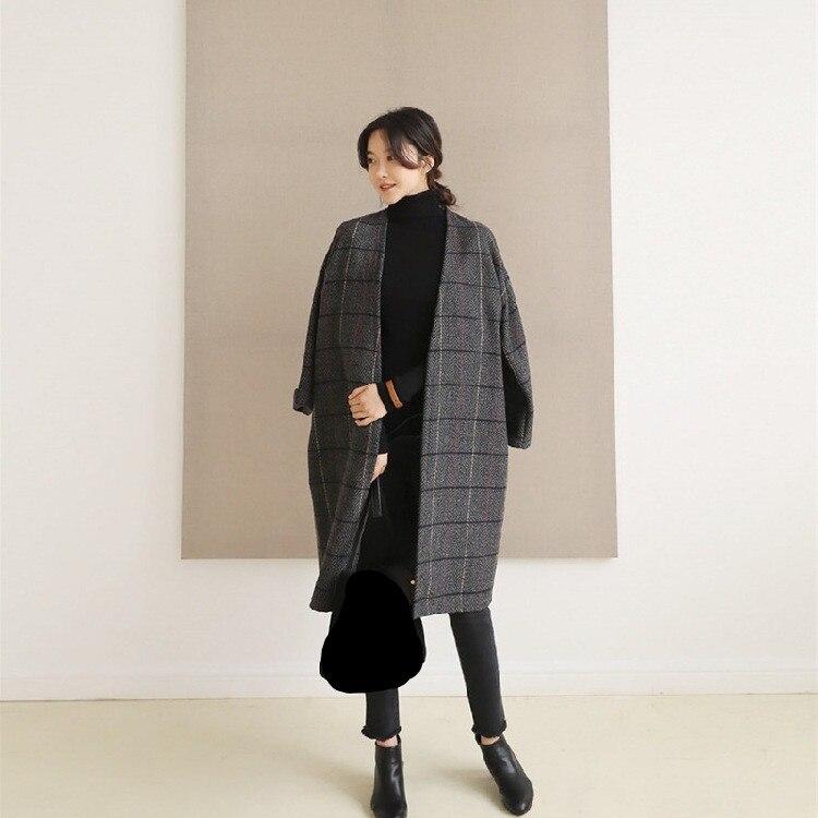 Nouvelles Automne Laine De gris Hiver Simple Longues Pardessus V Long cou Lâche Cardigan Femmes Marron Plaid Manches Fashion Manteau rr5Cgwqp