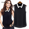 Women Short Sleeve Chiffon Blouse Fashion Casual Sleeveless Patchwork Tulle Blouses Blusa Feminina Shirt