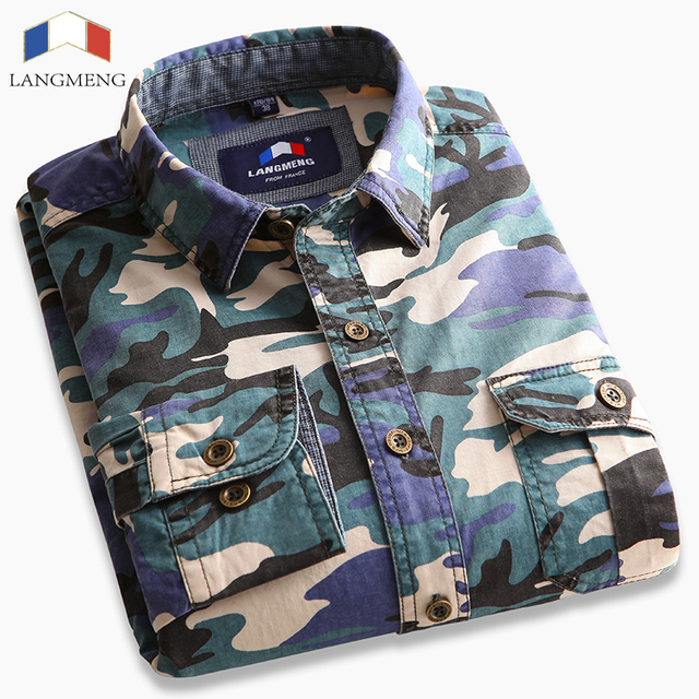Mens Long Sleeve Camouflage Shirt Men Army Combat Casual Shirt Military Slim Fit Camo Male Shirts 2016