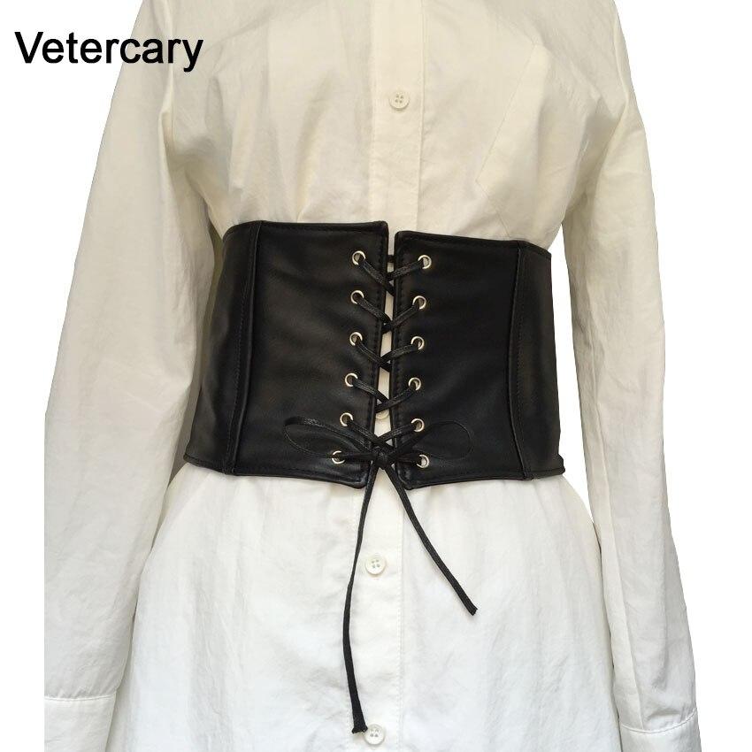 Hot Sale Good Quality Black Faux Leather Soft Women Tied Up Corset Belt Shape-Belly Cummerbunds Black Lady Party Decorate Dress