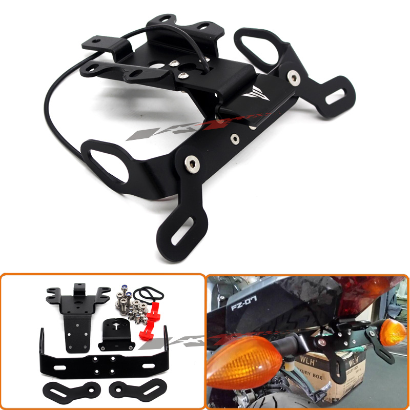 Motorcycle LED light Fender Eliminator License Plate Bracket Holder Tidy Tail For YAMAHA MT07 MT-07 FZ-07 2014-2016 Black