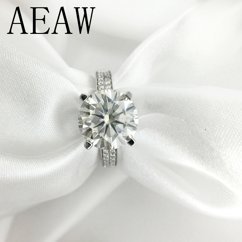 AEAW 3 Carat 9mm Round Cut FG Color Engagement&Wedding Moissanite Diamond Ring Platinum Plated Silver transgems 1 3ctw princess cut lab grown moissanite diamond engagement wedding ring platinum plated 925 sterling silver