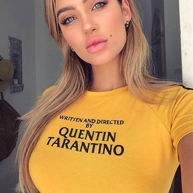 vogue-escrito-e-dirigido-quentin-font-b-tarantino-b-font-camisa-amarela-t-90-s-mulheres-tees-topos-goth-camisetas-slogan-do-tumblr-tshirts-verao-topos