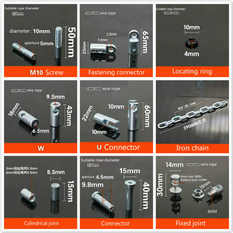 Steel Wire Accessories Gym Fitness Equipment Rope Joints Anaerobic Exercise Metal Chain Bolt Piercing Joint