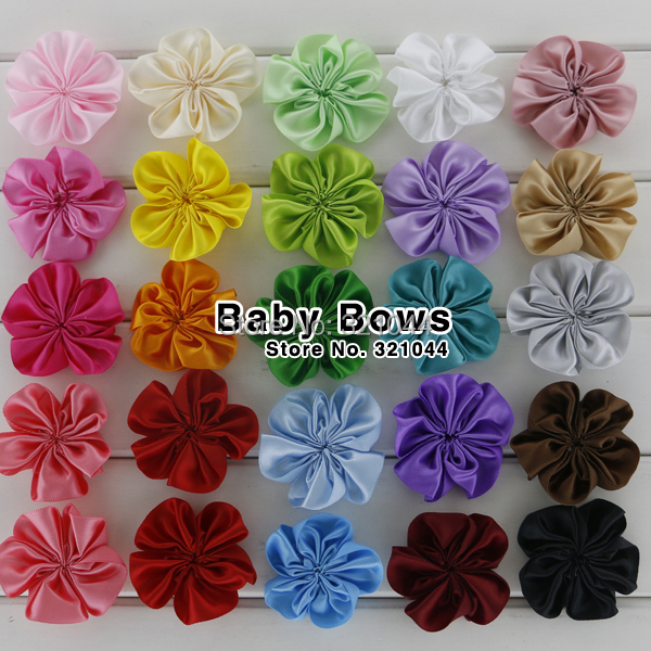 Babymatch 100pcs/lot 5.5cm Mini Ribbon Single Flowers For Gilrs Hair Accessories Shoes Flowers Clothing Garment Flowers