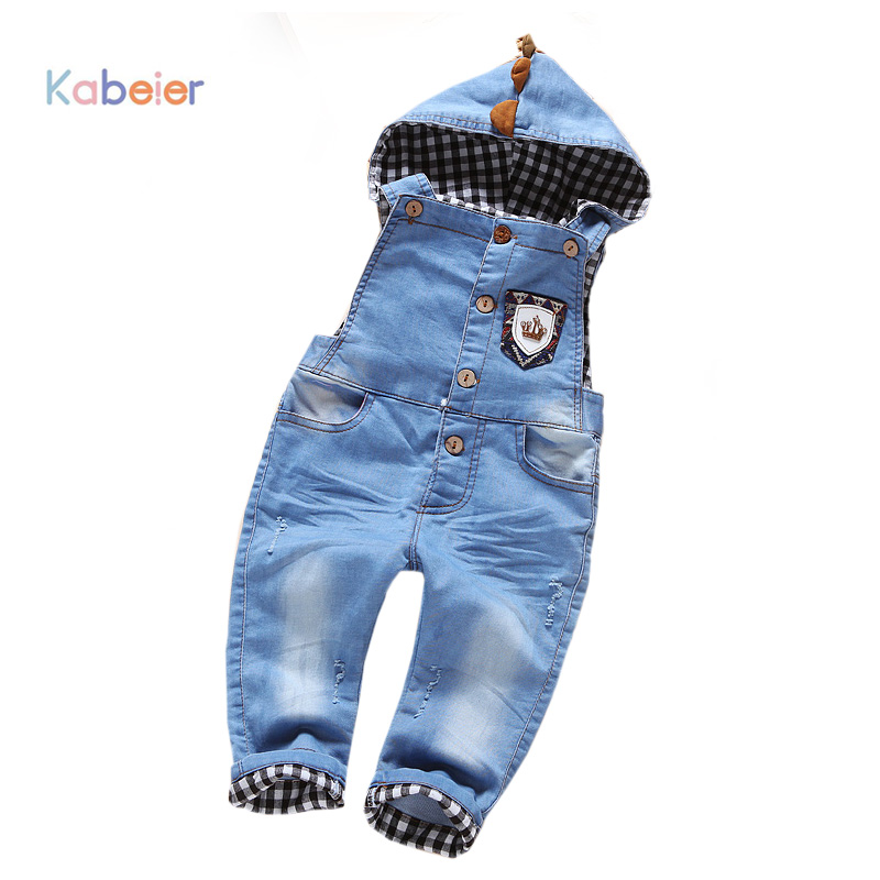 Children Jean Overalls Girl Boys Clothing New Hooded Denim Cowboy Infant Boy Girls Bib Jeans Boy Children's Clothing 1-4Years