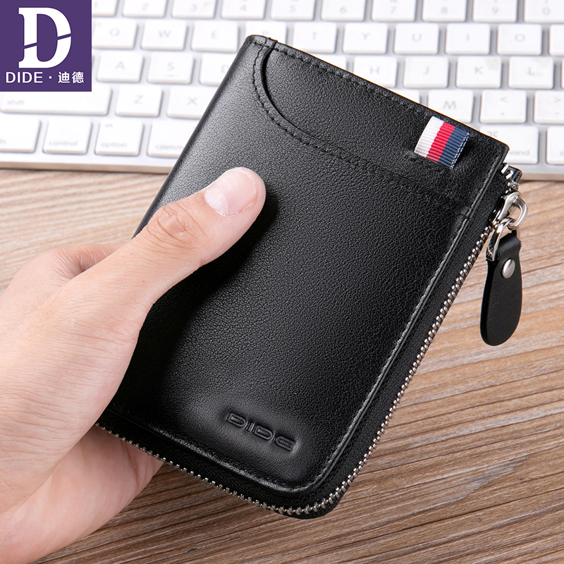 DIDE 100% Genuine Leather wallet men Short Wallet women Luxury Brand Casual Fashion Wallets Zipper Coin Purse Male Card Holder slymaoyi classical men wallets genuine leather short wallet fashion zipper brand purse card holder wallet man with coin bag page 10