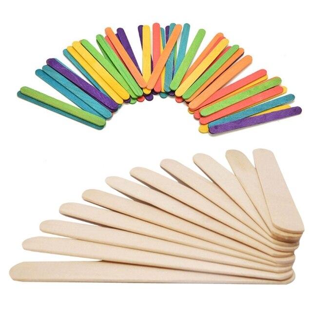 50pcs Wooden Popsicle Sticks Kids Hand Crafts Material For Diy ...