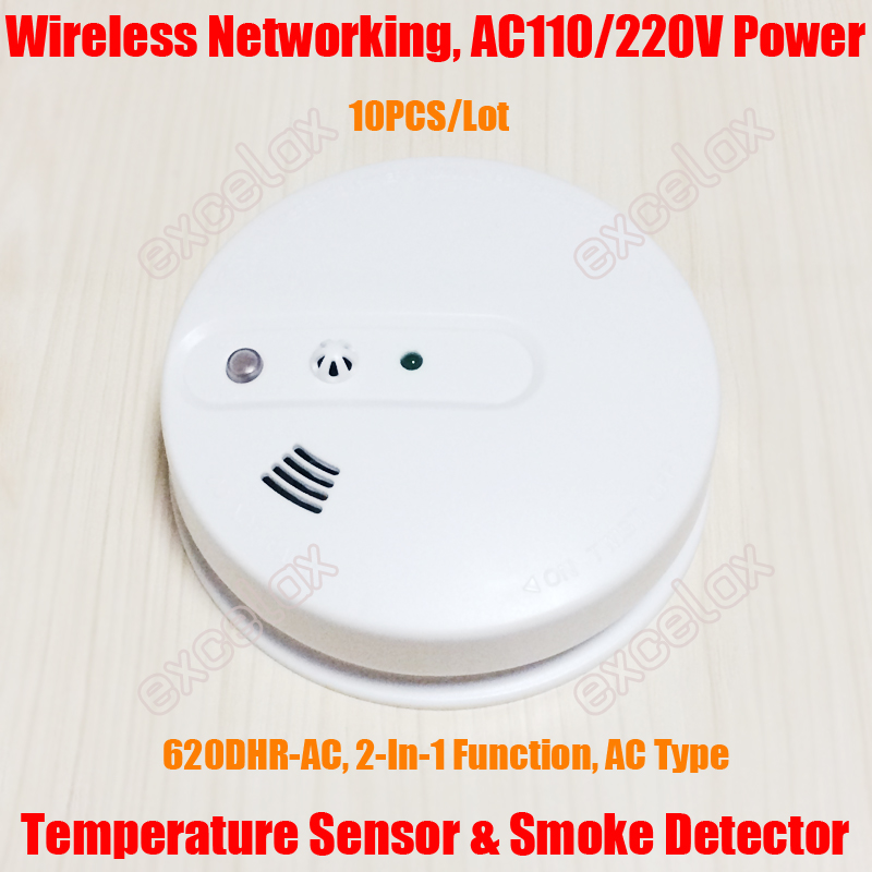 10PCS AC Wireless Networking 2 In 1 Heat Temperature Sensor & Smoke Detector AC110V AC220V Photoelectric Fire Alarm HM-620DHR-AC