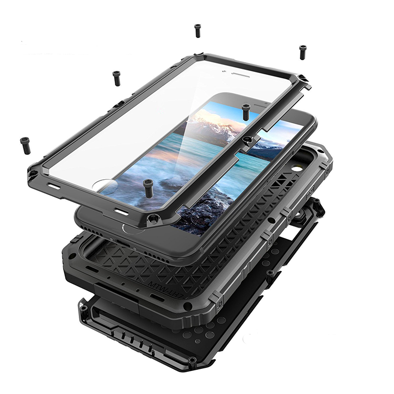3 Proofings Armor Case For iphone X 8 Metal Aluminum Dirt Shock Waterproof IP68 Case For iPhone 6 6s 7 8 Plus Heavy Rugged Cover