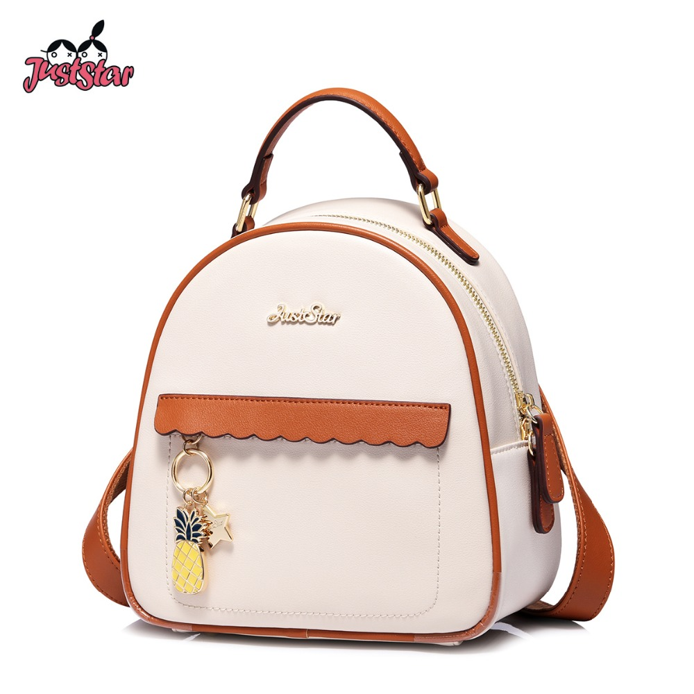 JUST STAR Women s Leather Backpack Female Fashion Pineapple Tassel Shoulder Bags Ladies Panelled All match