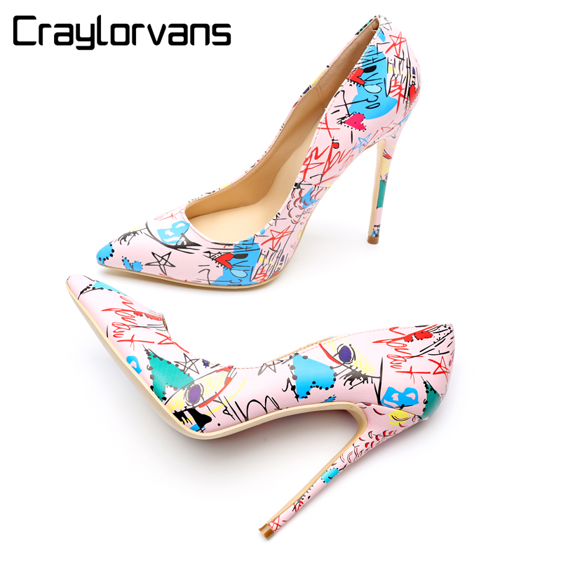 купить Craylorvans 12/10/8CM Brand Style Pink Graffiti Matte High Heels 2018 Fashion Party Wedding Womens Shoes Pointed Toe Sexy Pumps онлайн