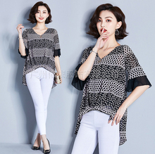 Spring and summer new style New large size M-4XL womens clothing Temperament V-neck chiffon irregular bottoming top