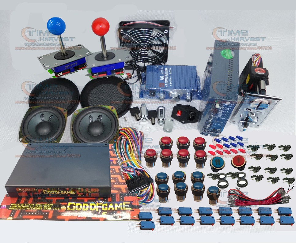Arcade Game Bundles kit With GOD OF GAMES 900 in 1 Joystick Microswitch illuminated Buttons Fan lock for Arcade Cabinet Machine arcade joystick gamepad kit 800 games in 1 video tv jamma 2 joystick vga hidmi metal double stick arcade console with 2players