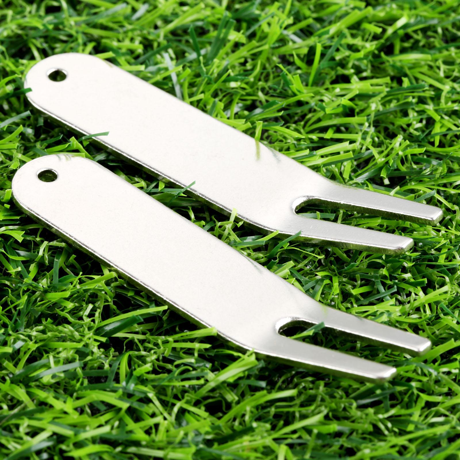 Zinc Alloy 2pcs Golf Divot Repair Tools Golf Green Fork Portable Silver Divot Repair Too ...