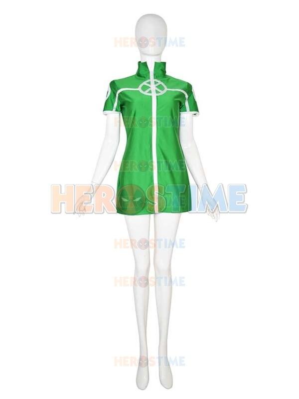 X-men Rogue Costume Female Green Spandex Superhero Costume Short Rogue Dress