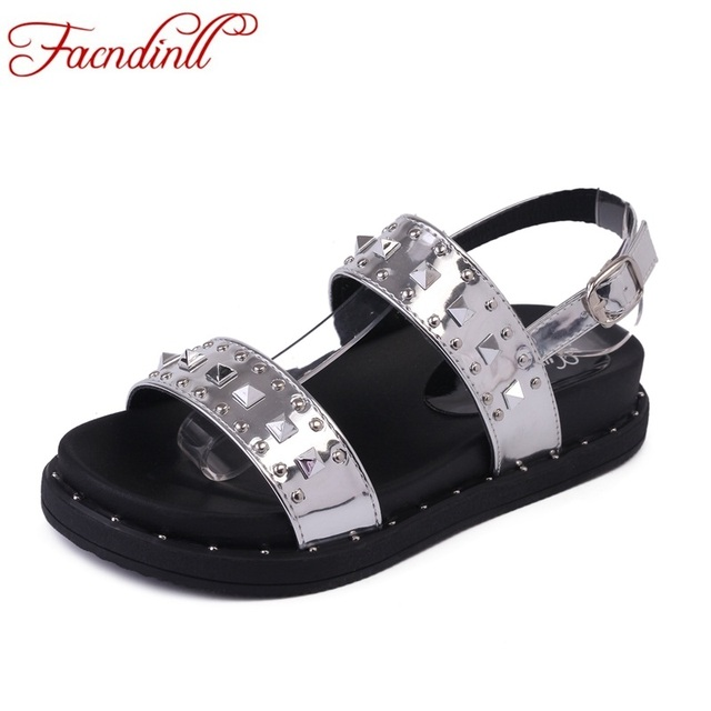 174e6f2349bbb high quality summer women sandals patent leather flat comfort platform  sandals lady rivets shoes woman gun silver punk sandalias