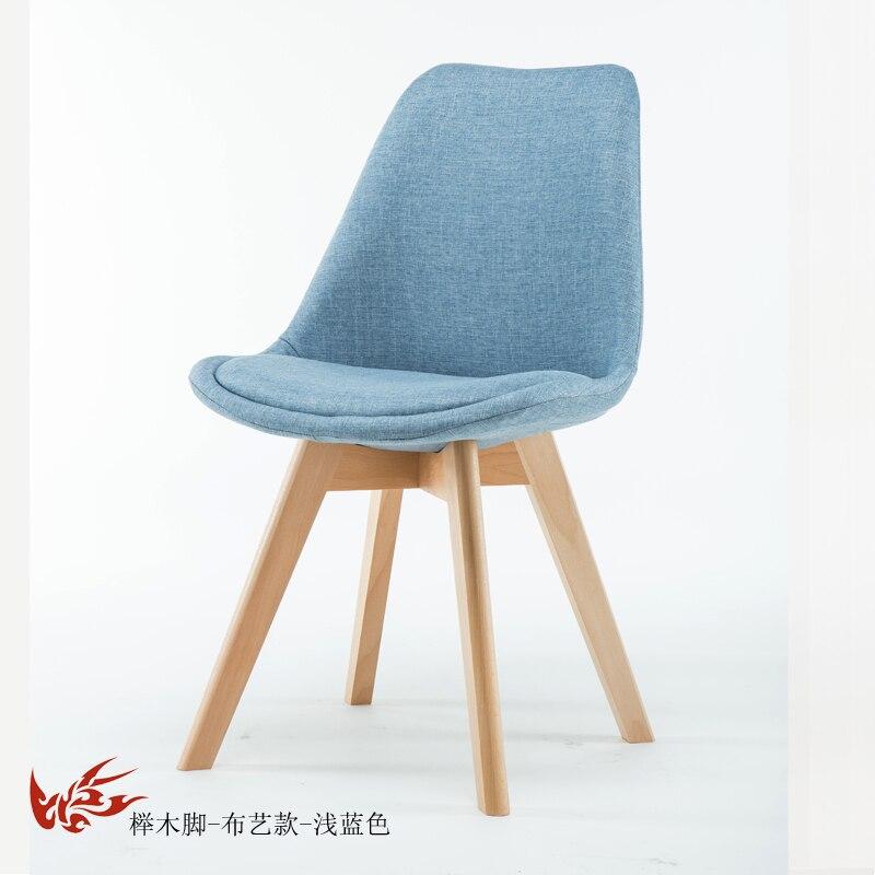Простой стул Мода нордическая ткань; Массивная древесина обеденный стул кофе отель встречи, чтобы обсудить домашний табурет - Цвет: 20
