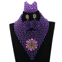 African Bead Necklace Set for Women Mix Fuchsia and Blue Indian Jewellery Set Chunky Bib Necklace Free Shipping HX652