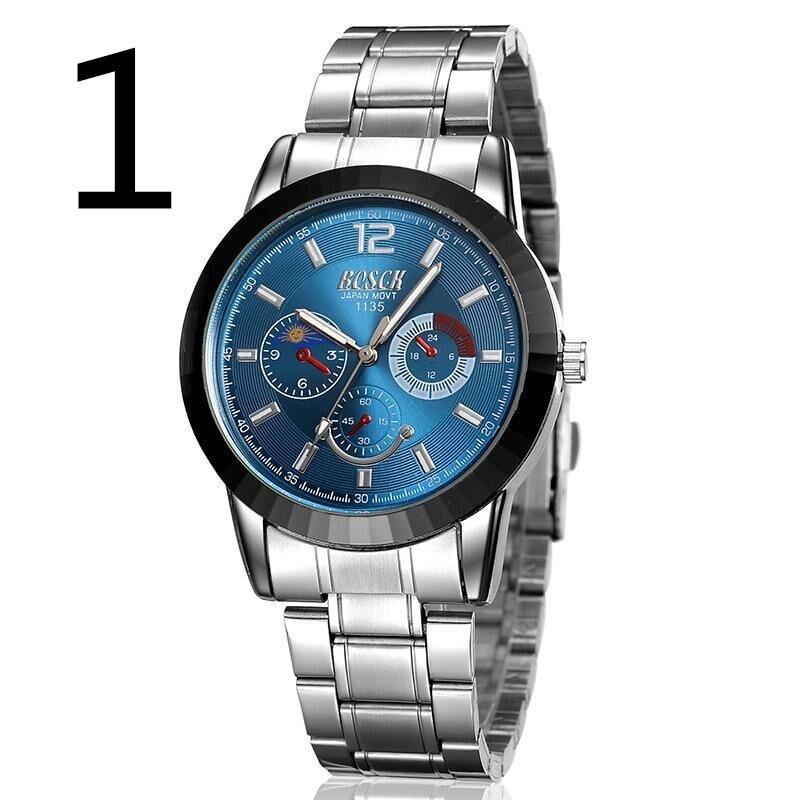 все цены на Genuine watch male automatic mechanical watch waterproof double calendar steel belt men's business fashion watch онлайн