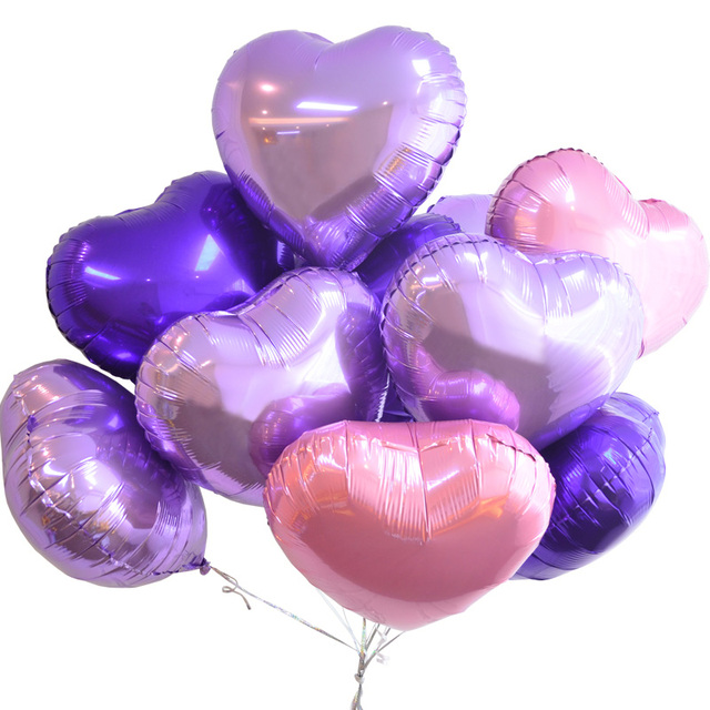 18 inch Multicolor heart shape Aluminum foil balloons wedding decoration love helium balloon inflatable air balls party supplies