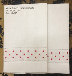 Novelty Unisex Handkerchiefs 12PCS/Lot 14x22White Linen Handkerchiefs Embroidered Red Dot Vintage Hankies For Special Occasions