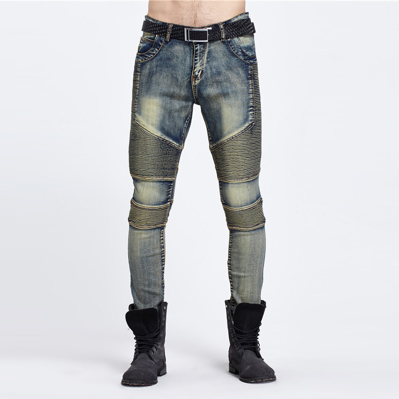 Hot Summer Motor Jeans Men Fear of God Biker Cotton Trousers Mens Hip Hop Robin Ripped Man Casual Slim Fitness Pants