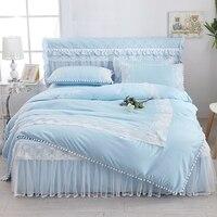 Princess Bedding Set Super King Duvet Cover Set with Lace 3/ 4pcs Bedclothes Adult Bed Set Girl Duvet Cover Bed skirt Pillowcase