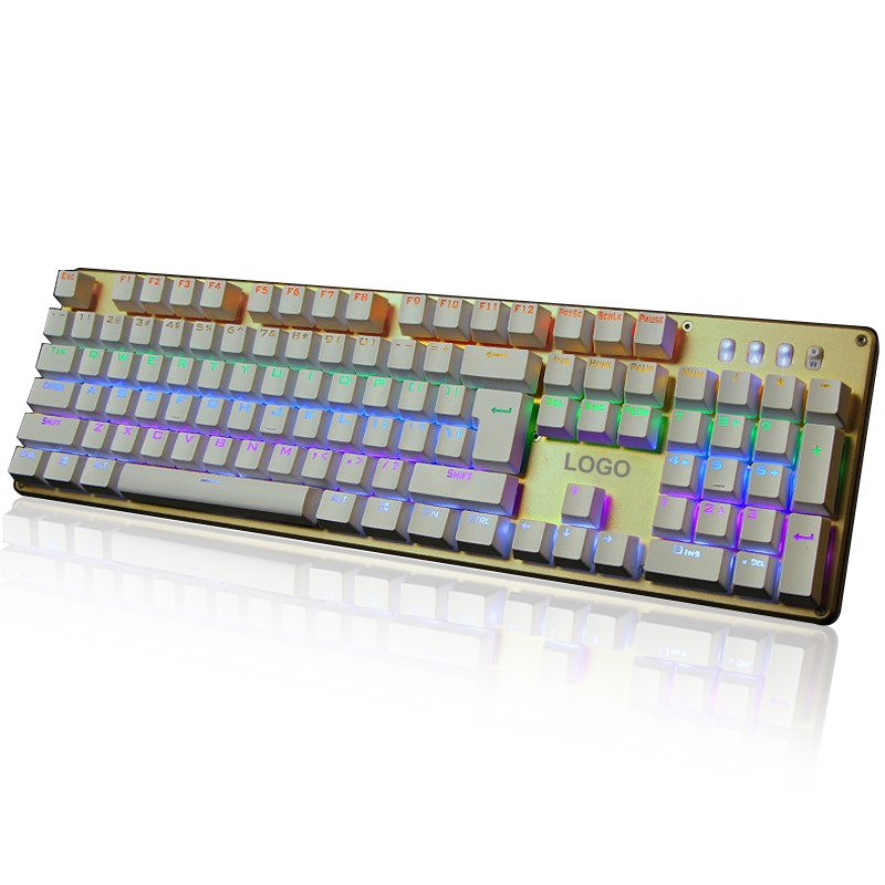 F2010 USB Wired Mechanical Keyboard 104 Keys Colorful LED Backlight Whole Keys Anti-Ghosting Gaming Keyboard For PC Laptop