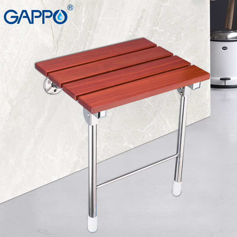 Gappo Wall Mounted Shower Seats Abs Plastic And Stainless Steel Wall Bath Bench Chairs Wall Mounted Bath Chair For Bathroom Bathroom Fixtures Wall Mounted Shower Seats