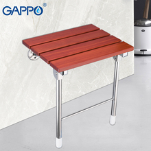 GAPPO Wall Mounted Shower Seats wall mounted shower folding seat bath shower Relaxation stainless-steel Solid wood chair