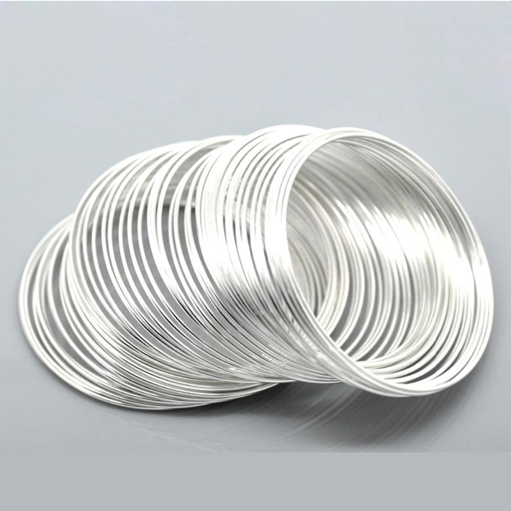 DoreenBeads Steel Wire Memory Beading Bracelets Components Round Silver Color Jewelry Findings 5cm-5.5cm Dia, 15 Loops 2019 New