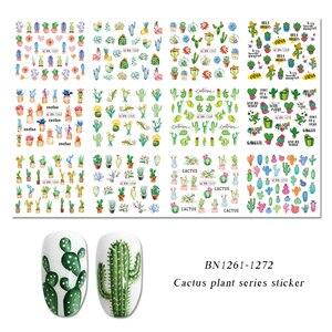 Image 5 - Pegatinas de agua para uñas de Cactus, 12 diseños, hoja de planta verde, copos de marca de agua, deslizador, tatuaje, decoración de uñas, LABN1261 1272 1