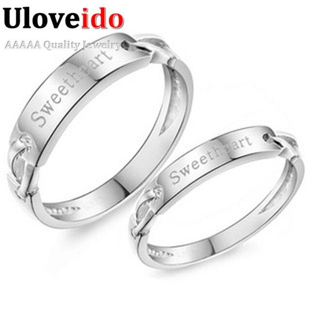 Uloveido 2Pcs Jewelry Silver Couple Rings For Men And Women Wedding Ring Set Fashion Sweet