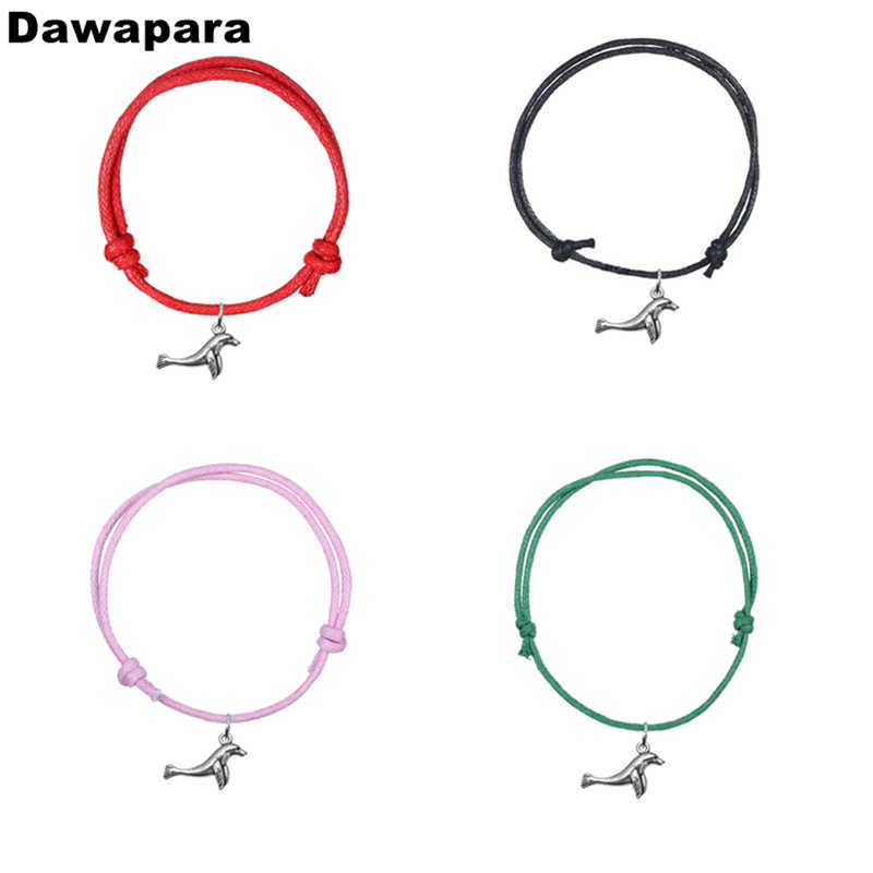 Dawapara Lovely Marine Animal Fur Seal Alloy Pendant Charm Bracelet Korean Wax Cord Adjustable Chain Bangle Fashion Jewelry Gift
