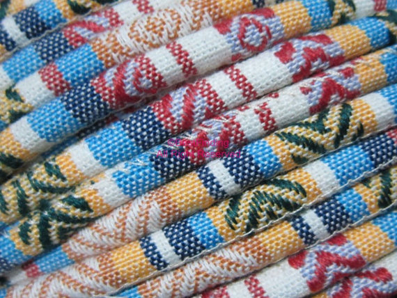 Beige Mixed Ethnic Cord Fabric Textile Wrap Cord Embroider Cord