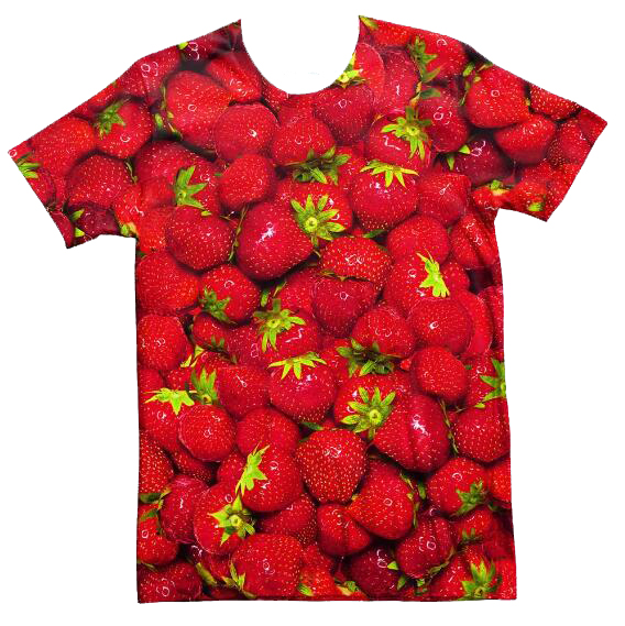 Aesthetic Casual Tee Strawberry Invasion T-Shirt Style Hipster Crewneck Tumblr Short Sleeve shirts 3D Fruit strawberries Outfits