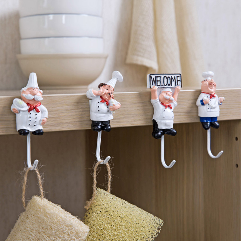 Cartoon Kitchen Resin Stainless Steel Hook Cute Powerful Adhesive Hanger Novelty Wall Storage Rack Strong Glue Hook For Kitchen