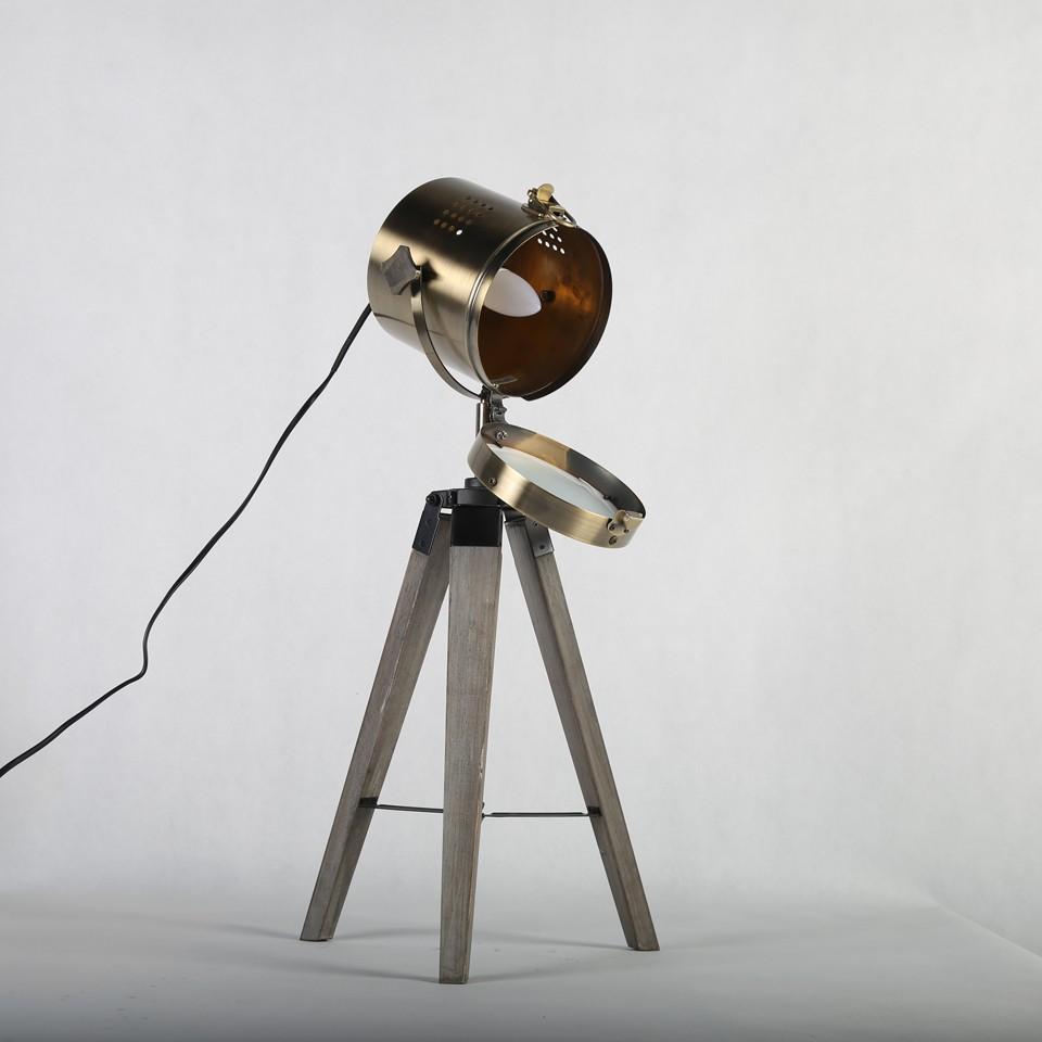 Retro Royal Wood tripod Table Search Light Lantern,Bronze led desk light flexible led desk light bar 4